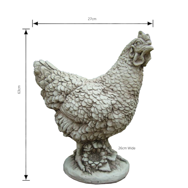 Statue - Hen Chicken with dimensions