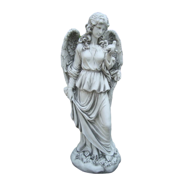 Statue - Tall Lady Angel Holding Bird