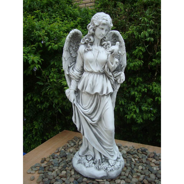Statue - Tall Lady Angel Holding Bird in the garden