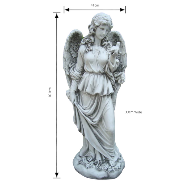 Statue - Tall Lady Angel Holding Bird with dimensions