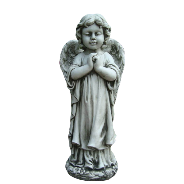 Statue - Angel Cherub Girl w Wing Praying Sculpture