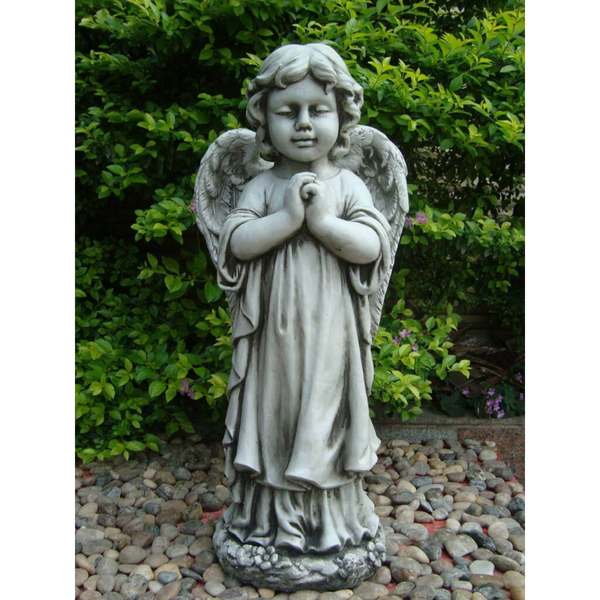Statue - Angel Cherub Girl w Wing Praying Sculpture in the garden