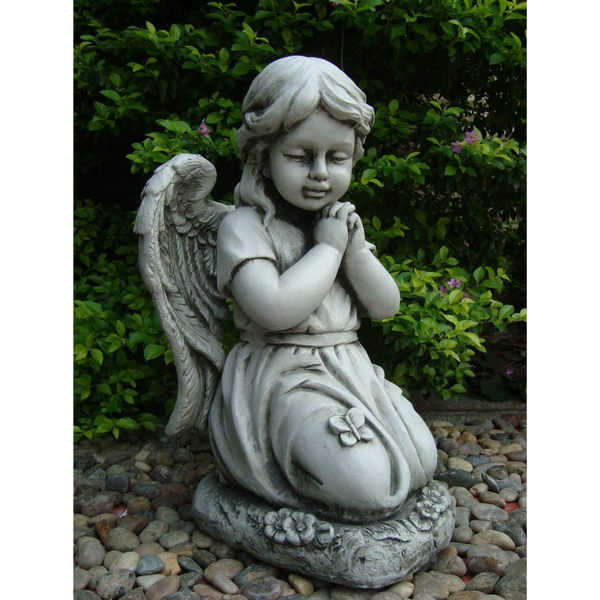 Statue - Angel Cherub Girl w Wing Kneeling Praying Sculpture in th garden