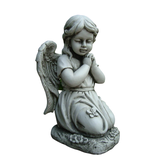 Statue - Angel Cherub Girl w Wing Kneeling Praying Sculpture