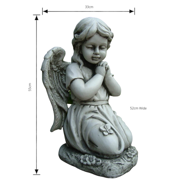 Statue - Angel Cherub Girl w Wing Kneeling Praying Sculpture  with dimensions