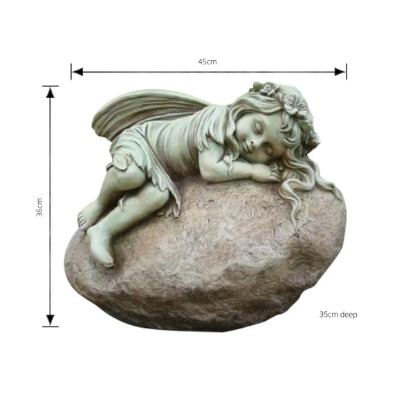 Statue - Fairy Resting on Rock with dimensions