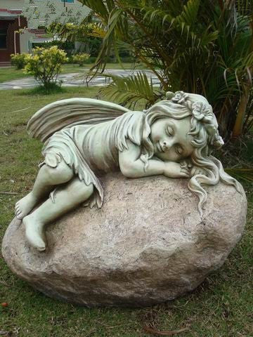 STATUE FAIRY RESTING ON ROCK 45X35X36CM
