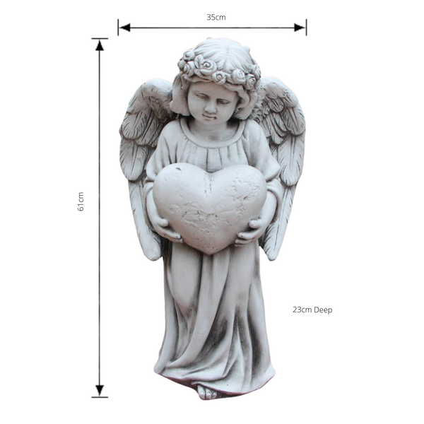 Statue - Angel Holding Heart Sculpture with dimensions