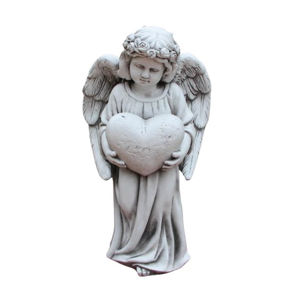Statue Angel Holding Heart Sculpture Figurine Ornament Feature Garden Decor 35X23X61cm