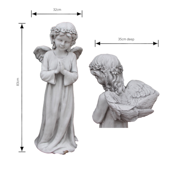 Statue - Angel Fairy Cherub w Wing Bird Feeder Bath Sculpture with dimensions