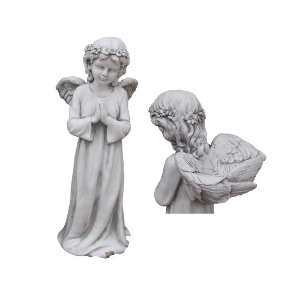 Statue - Angel Fairy Cherub w Wing Bird Feeder Bath Sculpture