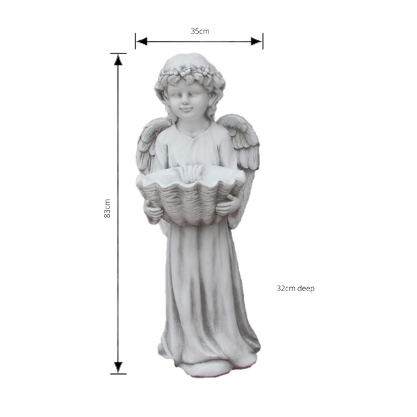 Statue - Angel Cherub w Shell Bird Feeder Bath Sculpture with dimensions