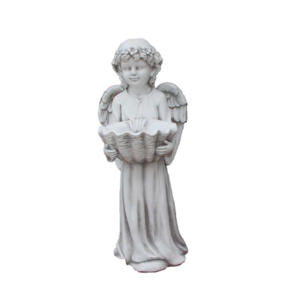 Statue Angel Cherub w Shell Bird Feeder Bath Sculpture Figurine Ornament Feature Garden Decor 35x32x83cm
