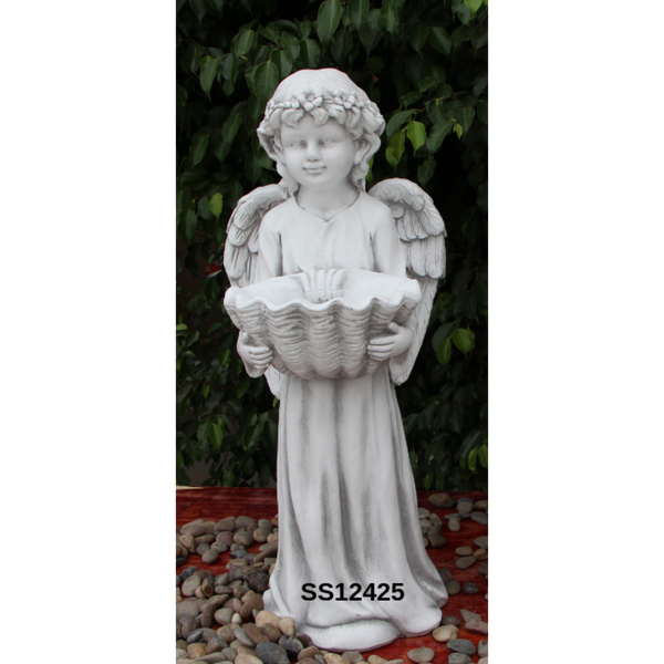 Statue - Angel Cherub w Shell Bird Feeder Bath Sculpture in the garden