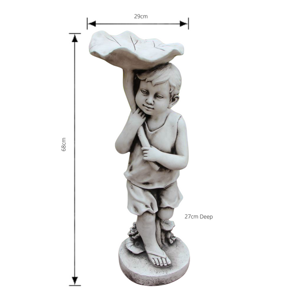 Statue - Boy Bird Feeder Bath Sculpture with dimensions