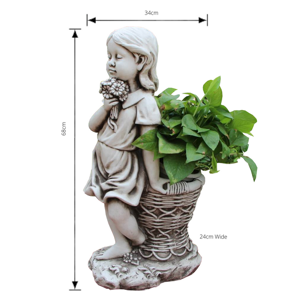 Statue Girl Flower Pot Sculpture Figurine Ornament Feature Garden Decor 34X24X68cm