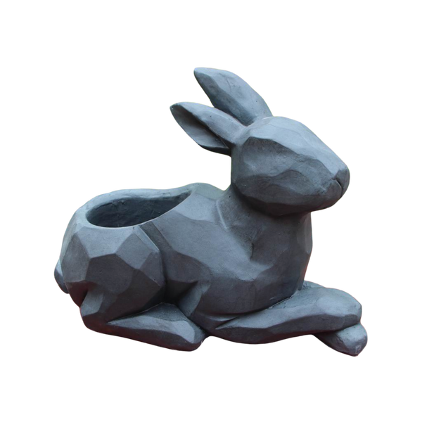 Statue Rabbit Sitting Flower Pot Sculpture Figurine Ornament Feature Garden Decor  47X22X35cm