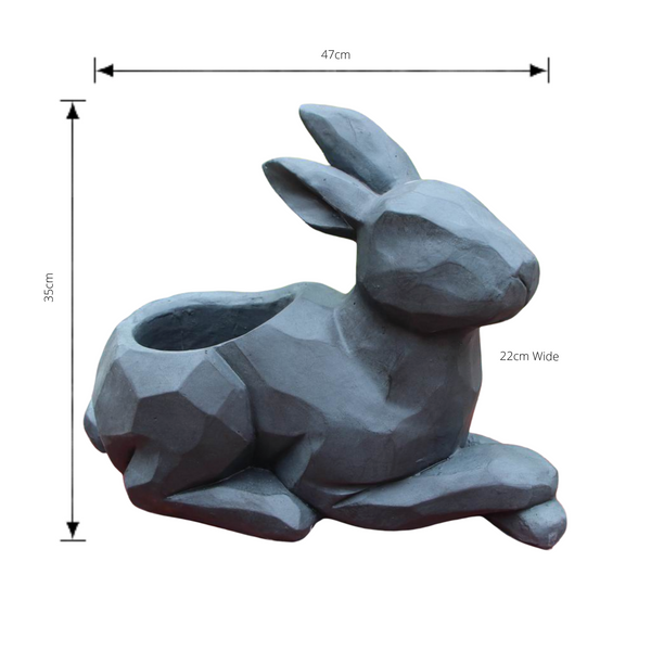 Statue - Rabbit Sitting Flower Pot with dimensions