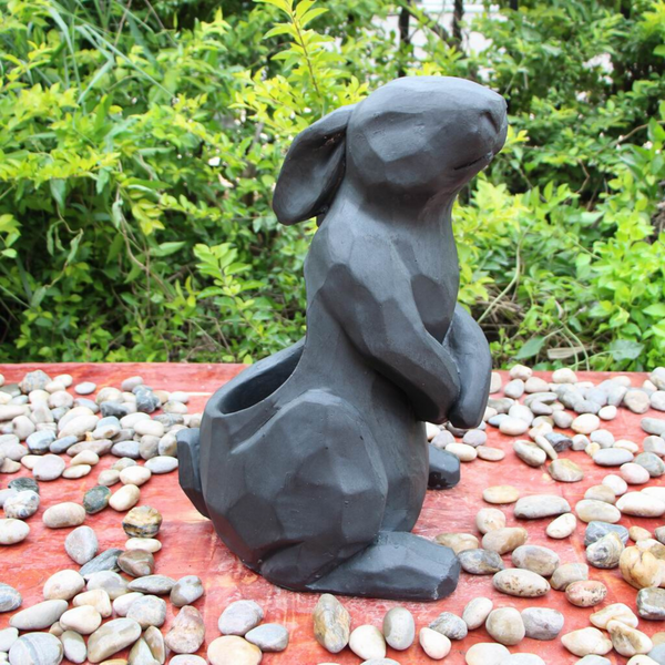Statue - Rabbit Standing Flower Pot in the garden