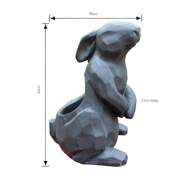 Statue - Rabbit Standing Flower Pot with dimensions