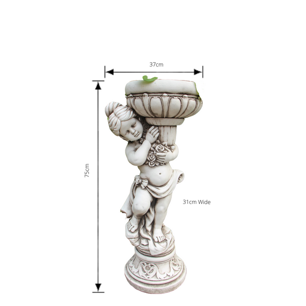 Statue - Girl Flower Pot Plant Holder  with dimensions