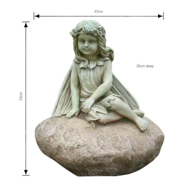 Statue - Fairy Leaning on Rock