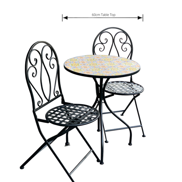 Patio Setting - Mosaic Sicily, Metal 3 Piece Outdoor Setting with dimensions