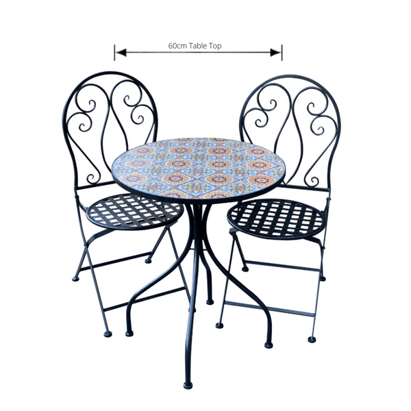 Patio Setting - Mosaic Siena, Metal 3 Piece Outdoor Setting with dimensions