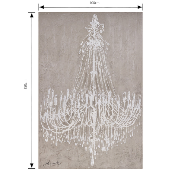 Painting Chandelier Print Artwork Wood Frame with dimensions