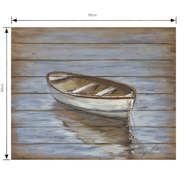 Painting Calm Waters Print Artwork Wood Frame with dimensions