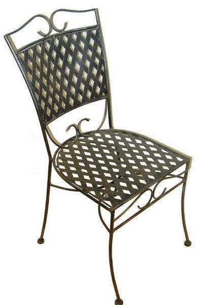 Outdoor dining chair, Oxford  style, wrought iron
