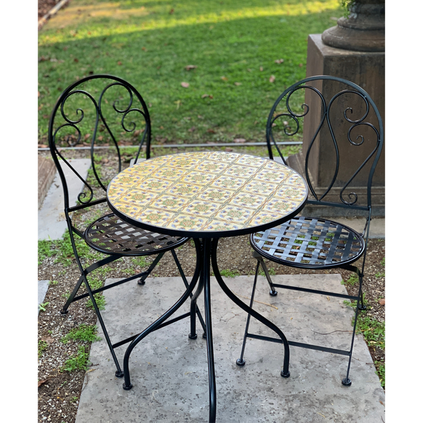Patio Setting - Mosaic Tuscan, Metal 3 Piece Outdoor Setting in the garden
