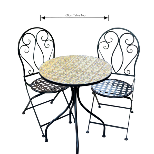 Patio Setting - Mosaic Tuscan, Metal 3 Piece Outdoor Setting with dimensions