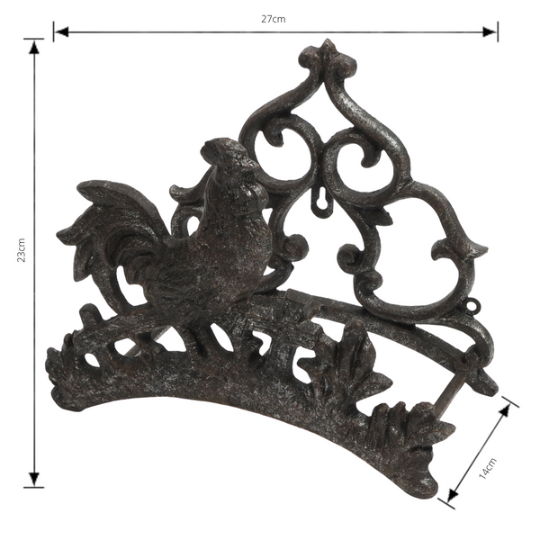 Cast Iron Rooster Wall Hose Reel Holder with measurements