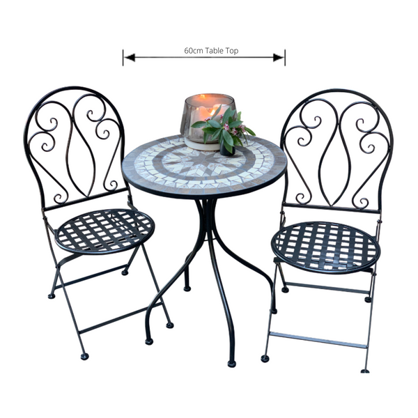Patio Setting - Mosaic Venice, Metal 3 Piece Outdoor Setting with dimensions