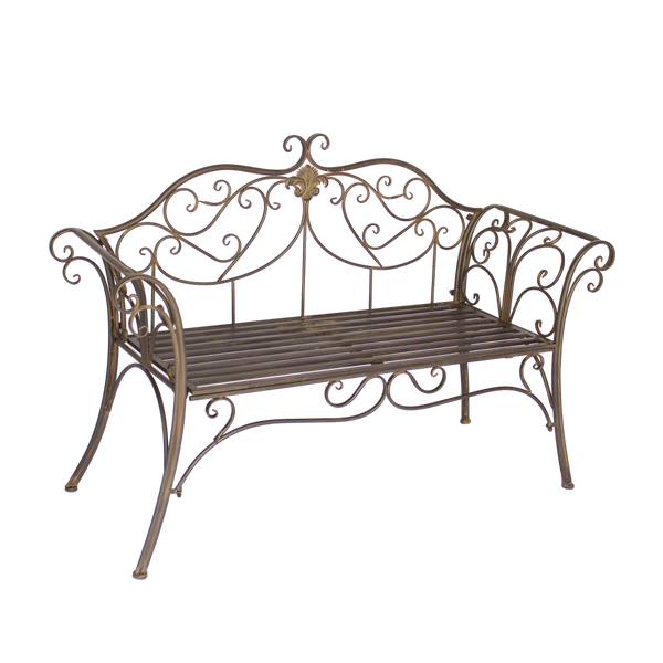 Garden Bench Seat Verona Metal Rustic Brown