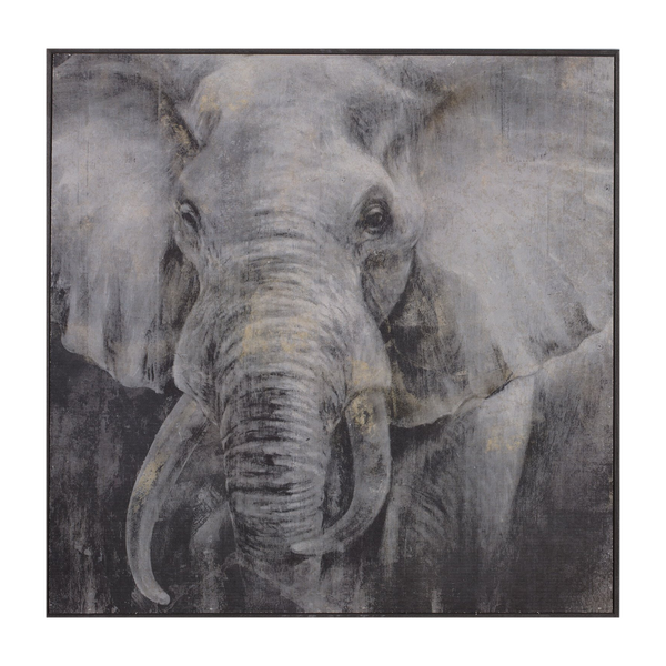 Painting Elephant Print Artwork Wood Frame