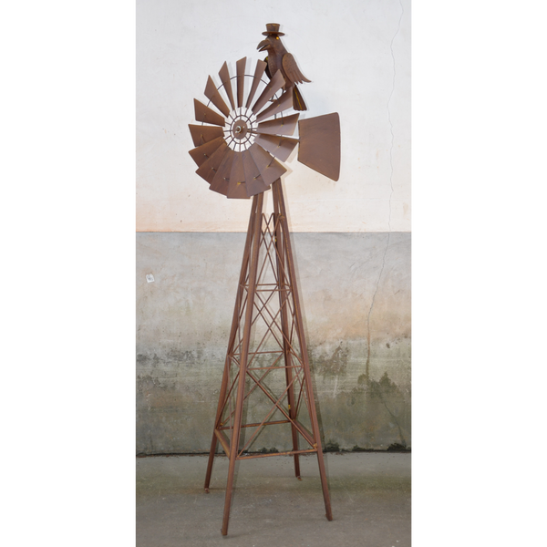Windmill With Crow Metal Rustic Art Sculpture