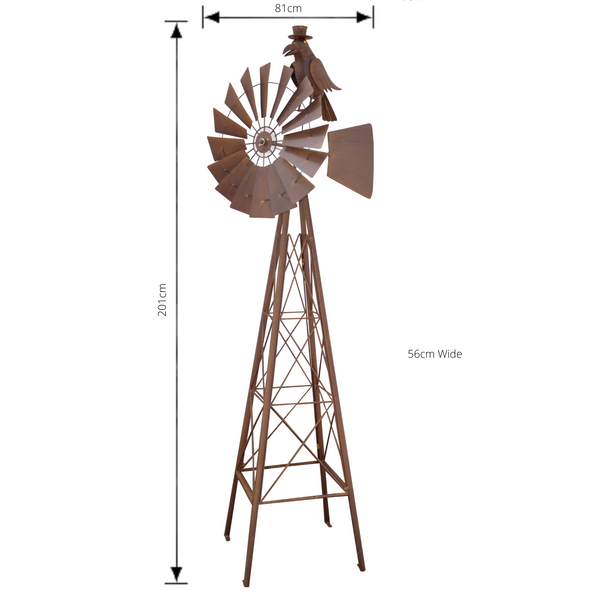 Windmill With Crow Metal Rustic Art Sculpture with dimensions
