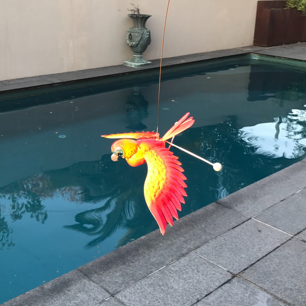 Garden Stake Fishing Rod Parrot in garden