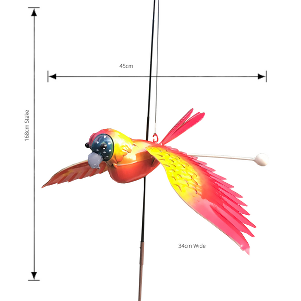 Garden Stake Fishing Rod Parrot with measurements