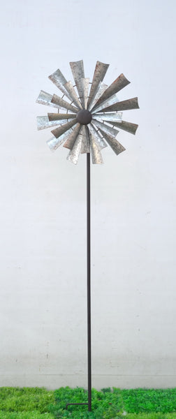 Garden Stake Corrugated Silver Metal Spinning Windmill Sculpture 38 x18 x148cm