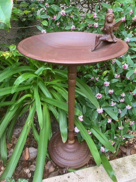 Bird Feeder Bath with Cast Iron Fairy Sculpture Metal Steel Stand Garden Decor 40x40x74cm