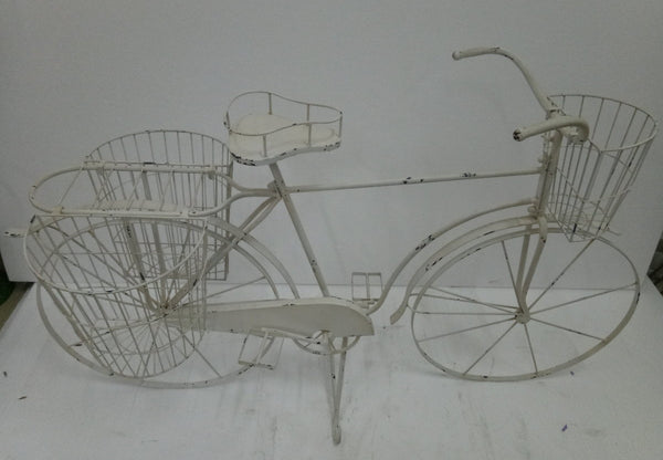 BICYCLE WITH PLANTER BASKETS IN CREAM 145X51X90CM HIGH