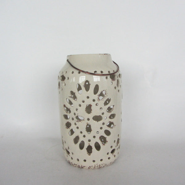 LANTERN CERAMIC ANTIQUE CREAM 17X17X29CM