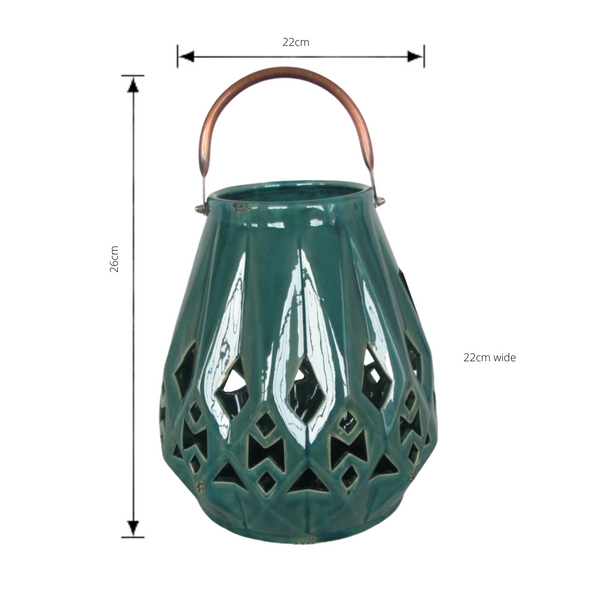 Ceramic Lantern Candle Holder - Antique Peacock  with dimensions