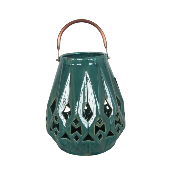 Ceramic Lantern Candle Holder - Antique Peacock