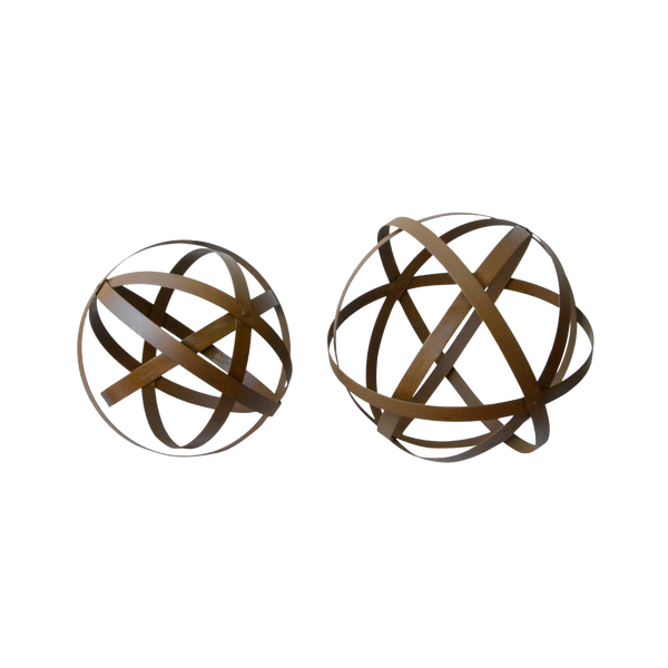 Set 2 Metal Ball / Sphere Decor 50X50/ 41X41cm
