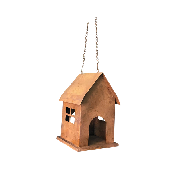 Hanging Birdhouse or birdfeeder in rusty metal