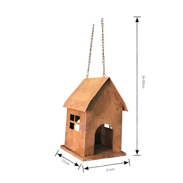 Hanging Birdhouse or birdfeeder in rusty metal with dimensions